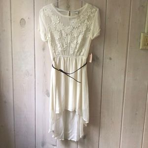 Women's High Low Floral Dress in Cream